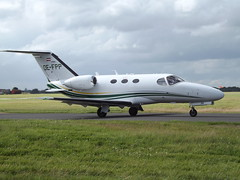 OE-FPP Cessna Citation Mustang 510 Globe Air AG (Aircaft @ Gloucestershire Airport By James) Tags: james airport globe air oxford ag mustang 510 cessna lloyds citation bizjet egtk oefpp