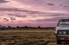 Car For Sale (Paul B0udreau) Tags: raw canada ontario paulboudreauphotography niagara d5100 nikon nikond5100 photoshopcc nikkor50mm18 vineland farm field 1966dodgepolara sunset redsky frontgrill headlights explore