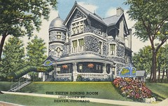 Tiffin Dining Room Postcard - n.d. -  Explored! (steveartist) Tags: denver postcards gothicarchitecture antiquepostcards explored restaurantpostcards romanesquebuildings tiffindiningroom