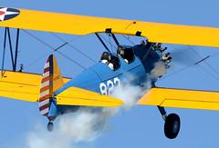 N67823 (John W Olafson) Tags: smoke palmsprings boeing warbird biplane stearman kadet n67823