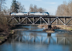 Amtrak's Coast Starlight Crossing The Mollala River (PNW Rails Photography) Tags: oregon river amtrak passenger starlight canby mollala