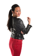 Joy (Disorderly) Tags: red woman black sexy girl beautiful beauty leather female asian back pretty pants gorgeous rear young longhair jeans korean jacket attractive denim brunette lovely leatherjacket blackleather brownhair leathercoat