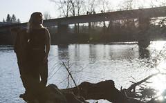 (kjj.photo) Tags: nature water girl oregon river outside outdoors natural branches debris longhair eugene ripples universityoforegon eugeneoregon sunspots autzen croptop autzenstadium