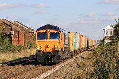GBRf Class 66 No. 66713 at Three Horse Shoes, Turves, 06.10.2012 (Julian Hodgson) Tags: train flickr weekend saturday engineering rail container locomotive fens cambridgeshire freight felixstowe fenland signalbox diversion class66 intermodal networkrail gbrailfreight threehorseshoes railfreight turves 66713 hamshall type5 4m23 locomotivehauled julianhodgson