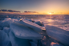 ice chunks (Donald L.) Tags: winter sunset ontario ice georgianbay lakehuron icebrick icechunk