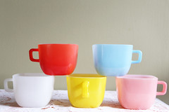 Pastel Milk Glass Mugs Square (Playin Jayne) Tags: vintage spring pastel retro midcentury glasbake milkglass stackable