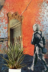 looking for the magic (tjager) Tags: orange art collage fire volcano lava mirror search time space magic surreal astronaut journey portal analogue quest passage boundary