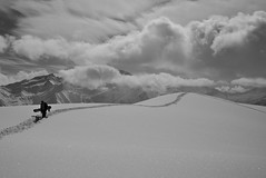 Ride (maekke) Tags: sky bw mountain snow man mountains clouds snowboarding switzerland noiretblanc cloudy powder snowboard fujifilm ch 2016 obersaxen x100t