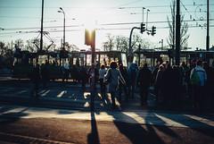 mob (ewitsoe) Tags: park street city light sunset urban woman sunshine bike sunrise 35mm walking spring cityscape shadows ride tram poland polska pedestrian commuter greenery rider poznan 2035mm nikond80 ewitsoe