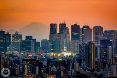 In a Spring Haze, Tokyo Shinjuku with Mt. Fuji (45tmr) Tags: japan tokyo twilight nightscape    mtfuji pentaxk3