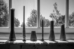 Choose Your Weapon (Celine Chamberlin) Tags: blackandwhite bw window monochrome oregon sill monotone mission spindles salem greyscale bobbins woolenmill