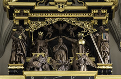 Our Lady of the Most Holy Trinity (Lawrence OP) Tags: sculpture wooden dove father mary stpaul son carving angels crown fribourg biblical stpeter coronation holytrinity putti ourlady holyspirit stmaurice blessedvirginmary eglisedesaugustins peterspring