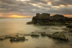 Viva Mxico!! (Anto Camacho) Tags: longexposure sea seascape water sunshine clouds sunrise landscape mexico rocks islamujeres caribe largaexposicion bigstopper