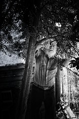 The Gardener_5 (evanffitzer) Tags: trees portrait blackandwhite bw white garden beard outdoors photography mono photographer gardening cutting pruning gardener yardwork canoneos60d evanffitzer evanfitzer