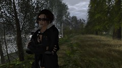 We all find our way in time (alexandriabrangwin) Tags: world trees grass forest computer river walking fur 3d still bush graphics track quiet bank gear eerie adventure jacket gloves secondlife virtual collar weeping straps willows buckles cgi parka adventurer oakleys adventuring fingerless holsters alexandriabrangwin