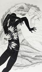 Pastel, ink and pencil drawing men dancing around the Queen of the Night (Night-blooming Cereus) (elizabatz.jensen) Tags: flower pencil dancers drawing queenofthenight oilpastel cereus orchidcactus nightblooming