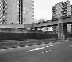 * (jubalharshaw) Tags: road b white black london lines lens photography aperture fuji pentax trix greenwich hc110 scan 55mm walkway medium format 1960s 6x7 smc developed f4 67 frontier modernist brutalist penta thamesmead dilution