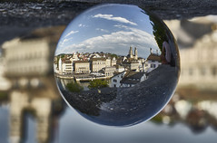 Zurich in a Crystal Ball (swissukue) Tags: city church architecture switzerland town sony zurich zrich a7 crystalball grossmnster flickrclickx ilce7