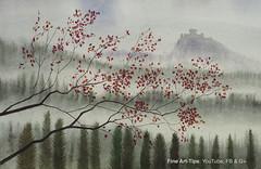 How to Paint a Landscape in Watercolor - Hills, trees and a castle (fineart-tips) Tags: castle art watercolor painting landscape tutorial leonardopereznieto finearttips artistleonardo