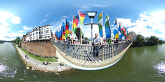 Festival flags (guenther_haas) Tags: bridge panorama river germany deutschland pano 360 flags grad danube ulm degree 360 flaggen donau equirectangular kugelpanorama herdbrcke internationalesdonaufest richothetas internationaldanubefestival