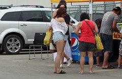 outside (photoluver1) Tags: street girls people woman sexy beautiful beauty fashion asian legs outdoor sandals candid gorgeous sidewalk jeans flipflops shorts streetshot candidphotography cutoffs