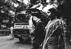 The Trio (arkamitralahiri) Tags: people blackandwhite india film monochrome face nikon grain streetphotography streetscene kolkata calcutta