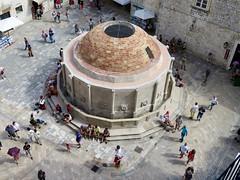 The Fountain (rockyenta) Tags: tourists break dubrovnik croatia rest summer heat fountain aerial walls view