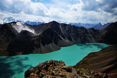 47 - The Lake's Further Mysteries. (onesecbeforethedub) Tags: travel mountain mountains travelling trekking trek hiking manipulation images technical imagination traveling kyrgyz kyrgyzstan lunar lanscape flusser vilem