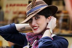Ritratto vintage_____Portrait vintage (MaOrI1563) Tags: portrait italy vintage florence italia tuscany firenze sorriso toscana cascine anni50 borsalino parcodellecascine ritrattovintage maori1563 florencebikefestival