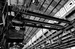 for the heavy lifting (fallsroad) Tags: blackandwhite bw building abandoned architecture industrial crane decay steel tulsaoklahoma nikond7000 evansfintube