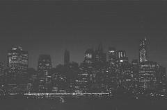 New York City, Night, Summer 2013 (raufrichtig) Tags: newyorkcity summer blackandwhite 35mm dusk citylights pentaxk1000 analogphotography summer2013 richardaufrichtig