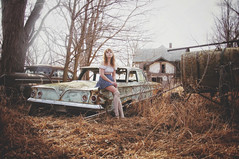 (yyellowbird) Tags: house selfportrait chevrolet abandoned belair girl car illinois lolita cari