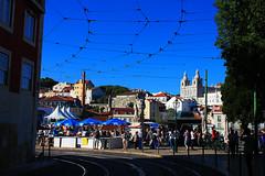IMG_0645Ax (kanizfotolio) Tags: santa shadow people portugal church car festival canon lens eos europe market lisboa lisbon crowd tram rail sunny cable landmark kits dslr 500d engrácia lisbao churchofsantaengrácia