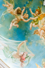 """Floating on Air (Jocey K) Tags: newzealand christchurch building art architecture painting gold artwork midsummer interior details dome openday restorationtour """"a night's dream"""" isaactheatreroyalopenday 1908paintedcanvasauditoriumceilingdome"""