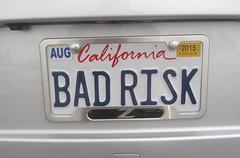 BAD RISK (MR38) Tags: california risk vanity bad plate license