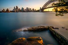 sydney - opera, harbour bridge (juraj.slezak) Tags: ocean city travel blue b sunset sky 6 sun water set opera long exposure harbour w north sydney filter nd 12mm brige northsydney nex samyang rokinon nex6