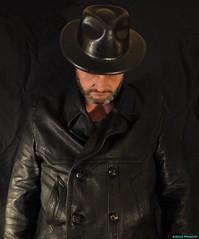 I, Tom (PhotoTJH) Tags: people selfportrait man black hat leather tom dark photography 1971 thomas leer stroke jacket jas zwart zelfportret cva scarred hoed leren getekend hardeveld phototjh phototjhnl