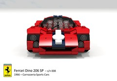 Ferrari Dino 206 SP (Carrozzeria Sports Cars - 1966) (lego911) Tags: auto italy classic cars sports car model italian dino lego render under over 206 ferrari spyder 1966 sp million 1960s challenge lemans thousand 008 racer v6 89 povray moc drogo ldd carrozzeria miniland lego911 overamillionunderathousand