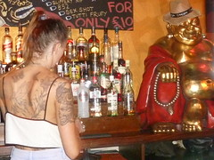 .buddha bar dirty green vinyl gig (huddsfilm1) Tags: girl tattoo punk skin buddha skinhead