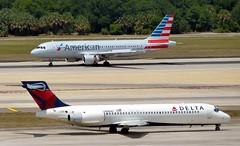 Delta - N989AT - B717-23S & American - N107US - A320-214 (Charlie Carroll) Tags: tampa florida tampainternationalairport ktpa