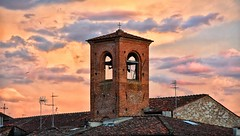 Combinazioni cromatiche inaspettate... unexpected combinations of colors (henryark) Tags: sunset red sky church tramonto bricks lucca belltower campanile mattoni