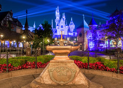 The Sword in the Stone (brosephotoz) Tags: longexposure night disneyland hdr fantasyland spotlights sleepingbeautycastle swordinthestone diamondcelebration disneyland60