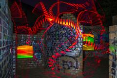 Nachts im Ruinenspielplatz (Lens Daemmi) Tags: light berlin painting olympus led strip blade lichtmalerei lapp marienfelde gutspark acrylglas lichtstab livecomposite