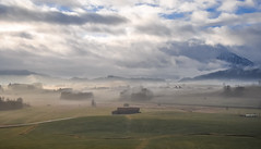 Bavarian countryside (ccr_358) Tags: morning trees winter light panorama mist fog clouds germany landscape bayern deutschland bavaria countryside scenery village view postcard january inverno germania cartolina gennaio baviera 2016 swabia christmasholidays ostallgu hopferau ccr358