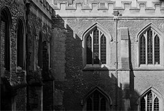 (frscspd) Tags: windows cambridge film window sunshine architecture cops pentax takumar courtyard gargoyle xp2 ilfordxp2 58mm mx ilford merlons filmgrain outofthewindow battlements gothicarchitecture pentaxmx crenellation kneelers sunnyweather oldschools trinitylane takumar58mm crenellatedwall ilfordxp2400bw 20160216 16290016