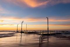 Pelican (solarfractal) Tags: ocean beach clouds sunrise pelican monavale