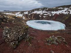 L'homme face au Cratre Kerid (NT) Tags: winter snow ice volcano frozen iceland hiver crater neige paysage lanscape islande icelandic volcan kerid cratre