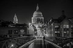 Bridge to salvation! (gags9999) Tags: uk bridge bw white black london night cityscape nightscape cathedral stpauls millennium
