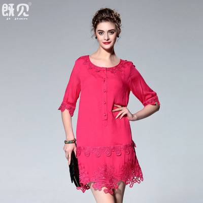 2016 Summer plus size ladies vintage embroidery in Europe and