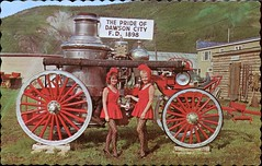 Historic Fire Engine, Dawson City, Yukon (SwellMap) Tags: architecture vintage advertising design pc 60s fifties postcard suburbia style kitsch retro nostalgia chrome americana 50s roadside googie populuxe sixties babyboomer consumer coldwar midcentury spaceage atomicage